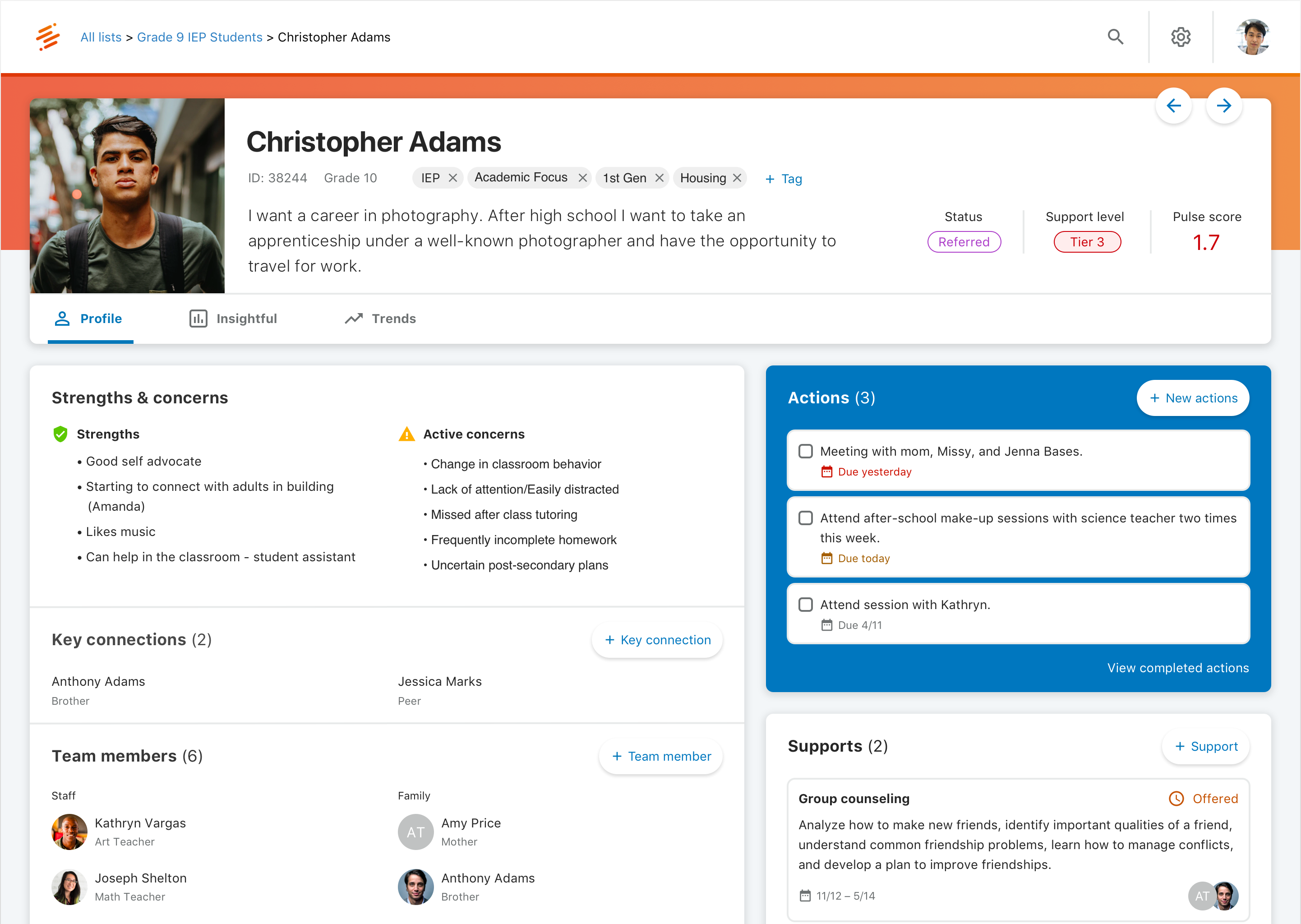 Screenshot of the Student Hub